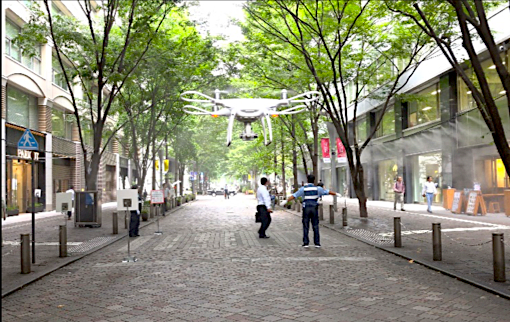 テラドローン、丸の内の高層ビル街において、ドローンの飛行実証実験を実施